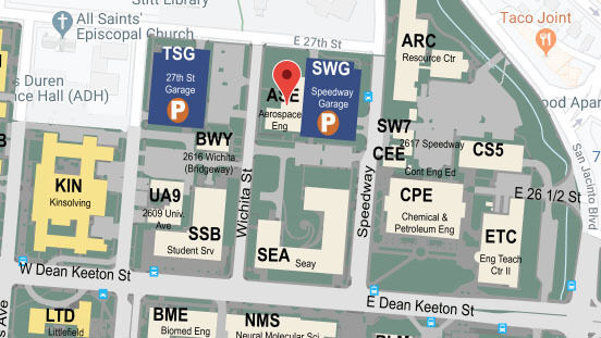 Building map location for Department of Aerospace Engineering and Engineering Mechanics