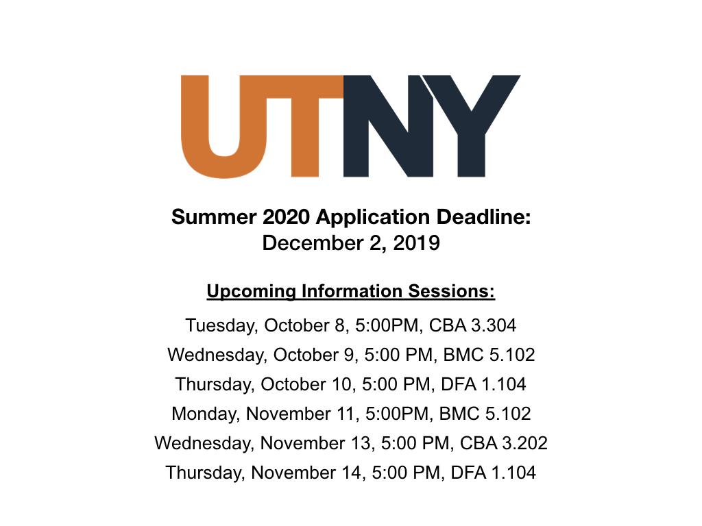 Utny Summer 2020 Information Sessions
